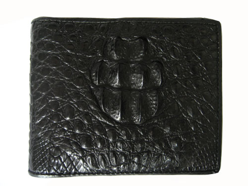 Genuine Hornback Crocodile Leather Wallet in Black Crocodile Leather #CRM446W-07