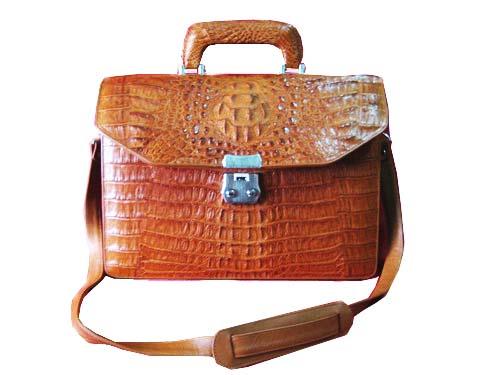Genuine Crocodile Leather Briefcase in Light Brown(Tan) Crocodile Skin  #CRM427BR