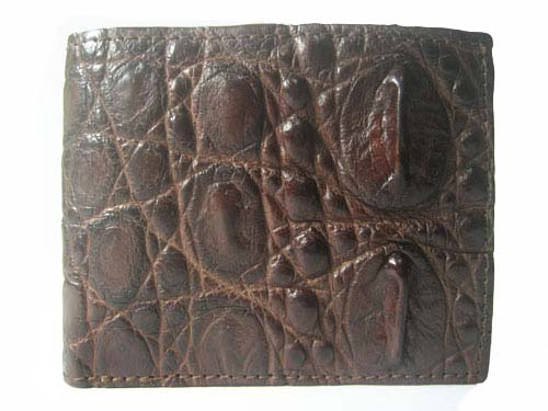 Genuine Tail Crocodile Leather Wallet in Dark Brown Crocodile Leather #CRM449W