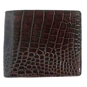 Genuine Crocodile Leather Wallet in Dark Brown Crocodile Leather #CRM452W-01