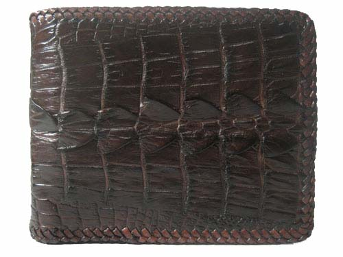 Genuine Crocodile Leather Wallet with Weave Style in Dark Brown Crocodile Skin  #CRM455W-02
