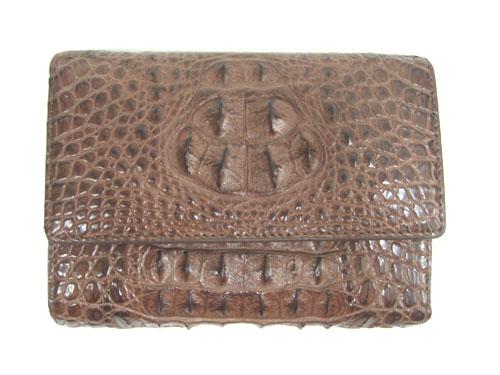 Ladies Hornback Crocodile Leather Mini Tri-fold Wallet in Dark Brown Crocodile Skin  #CRM462W-02