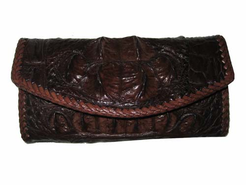 Hornback Crocodile Leather Wallet with Weave Style in Chocolate Brown Crocodile Skin  #CRM464W-01