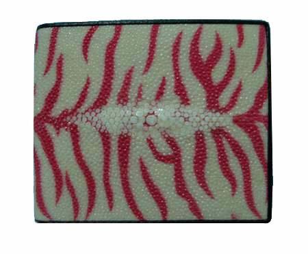 Genuine Stingray Leather Wallet in Red Tiger Stripes Stingray Skin  #STW474W
