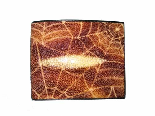Genuine Stingray Leather Wallet in Brown Spider Design Stingray Skin  #STW477W-01