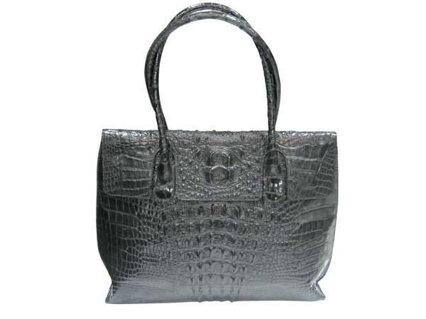 Genuine Crocodile Leather Handbag in Black Crocodile Skin #CRW254H