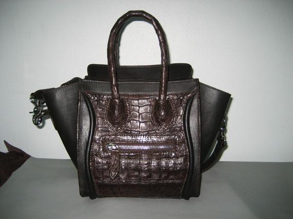 กระเป๋าถือหนังจระเข้แท้ไคแมนสีน้ำตาล