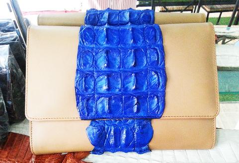 Genuine Siamese Crocodile Leather Clutch Bag in Blue Crocodile #CRW336H-BLUE-BACK