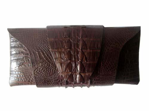Genuine Crocodile Clutch Bag/Purse in Chocolate Brown Crocodile Leather #CRW208H-02