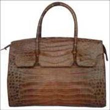 Ladies Genuine Crocodile Handbag in Brown Crocodile Skin #CRW214H-03