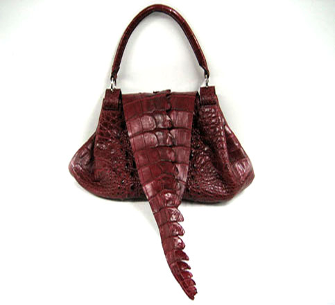 Ladies Genuine Crocodile Leather Handbag in Burgundy Crocodile Skin #CRW195H-08