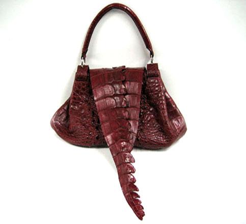 Ladies Genuine Crocodile Leather Handbag in Burgundy Crocodile Skin #CRW195H-08