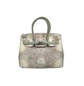 Ladies Genuine Crocodile Handbag in White Crocodile Skin #CRW214H-05