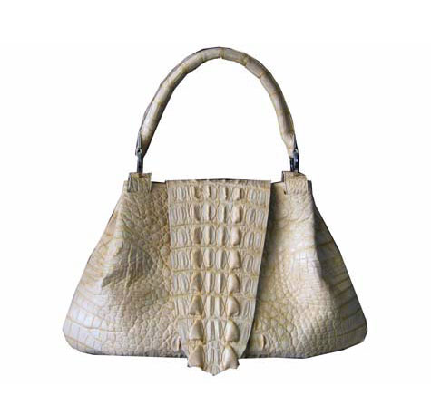 Genuine Crocodile Handbag in Cream Crocodile Leather #CRW195H-07