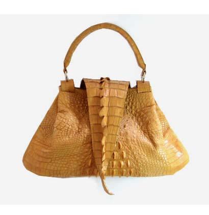 Genuine Crocodile Handbag in Yellow-Brown Crocodile Leather #CRW195H-04