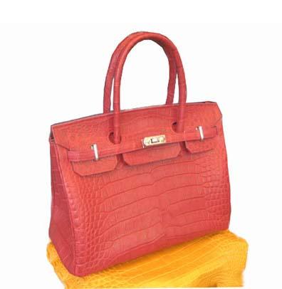Ladies Genuine Crocodile Leather Handbag in Red Crocodile Skin #CRW214H-10