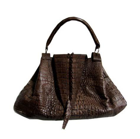 Genuine Crocodile Handbag in Chocolate Brown Crocodile Leather #CRW195H-02