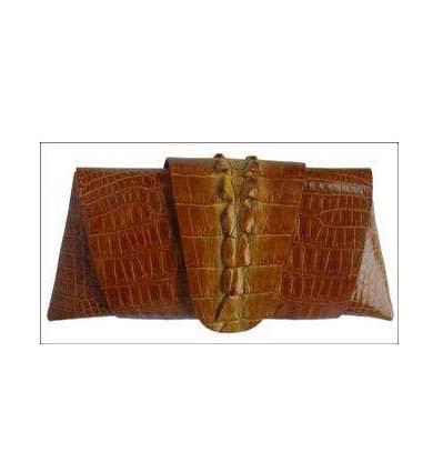 Genuine Crocodile Purse/Clutch Bag in Tan Crocodile Leather #CRW216H-04