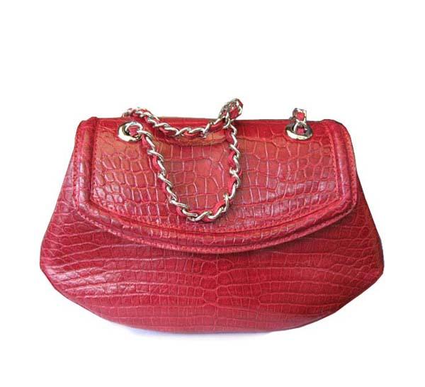 Ladies Genuine Belly Crocodile Leather Shoulder Bag in Red Crocodile Skin #CRW212H