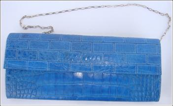 Genuine Crocodile Bag/Shoulder Bag in Blue Crocodile Skin Leather #CRW217H