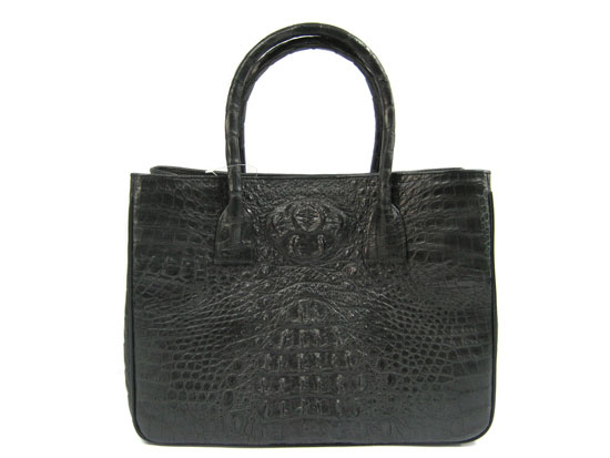 Genuine Crocodile Bag/Shopping Bag in Black Crocodile Leather #CRW218H-02