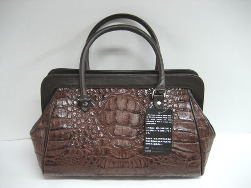 Genuine Alligator Skin Bag in Chocolate Brown Crocodile/Alligator Leather #CRW220H-04