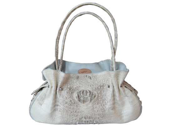 Genuine Alligator Shoulder Bag/Handbag in Natural Colour Crocodile Leather #CRW221H-01