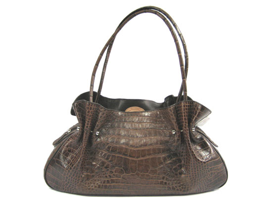 Genuine Belly Crocodile Shoulder Bag in Dark Brown Crocodile Leather #CRW221H-04