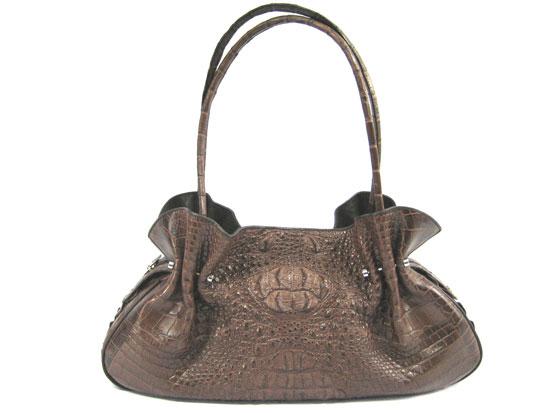 Genuine Hornback Crocodile Shoulder Bag in Dark Brown Crocodile Leather #CRW221H-02