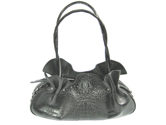 Genuine Hornback Crocodile Shoulder Bag in Black Crocodile Leather #CRW221H-03