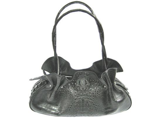 Genuine Hornback Crocodile Shoulder Bag in Black Crocodile Leather #CRW221H-03