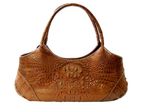 Genuine Hornback Crocodile Handbag in Light Brown(Tan) Crocodile Leather #CRW222H-01