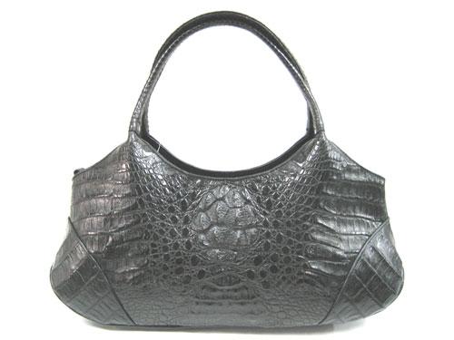 Genuine Hornback Alligator Handbag in Black Crocodile Leather #CRW222H-02