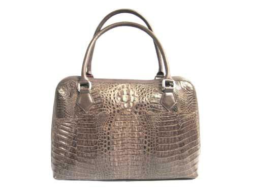 Genuine Hornback Alligator Handbag in Dark Brown Crocodile Leather #CRW223H