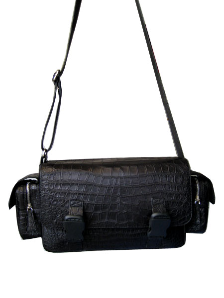 Genuine Belly Crocodile Shoulder Bag in Black Crocodile Leather #CRM229S