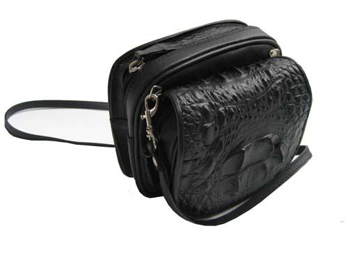 Genuine Crocodile Shoulder Bag in Black Crocodile Leather #CRW230S