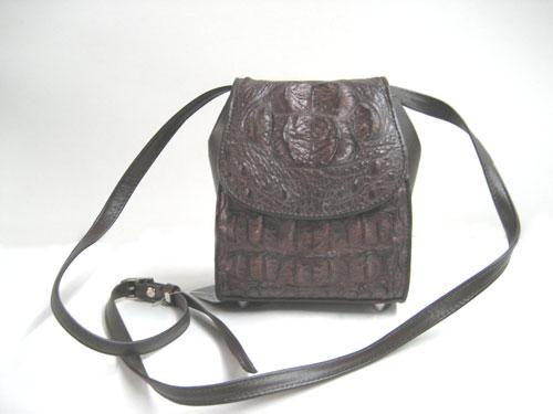 Genuine Crocodile Shoulder Bag in Dark Brown Crocodile Leather #CRW231S-02