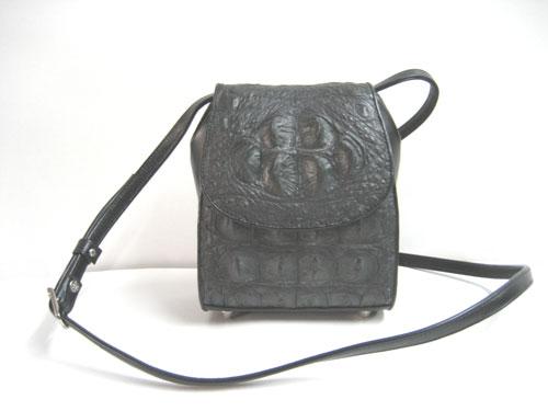 Genuine Crocodile Shoulder Bag in Black Crocodile Leather #CRW231S-03