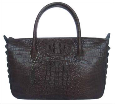 Genuine Crocodile HandBag in Dark Brown Crocodile Leather #CRW233H-01