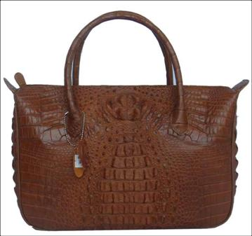 Genuine Crocodile HandBag in Light Brown Crocodile Leather #CRW233H-02