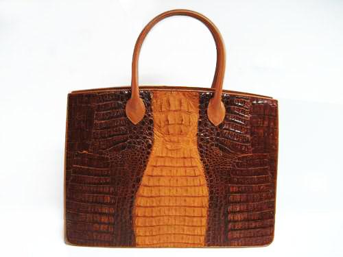 Genuine Crocodile HandBag in Brown Crocodile Leather #CRW234H