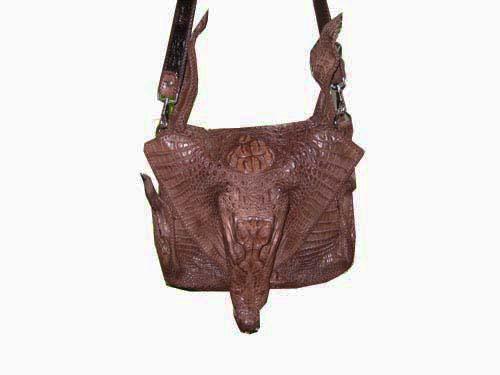 Genuine Crocodile Shoulder Bag in Dark Brown Crocodile Leather #CRM206S