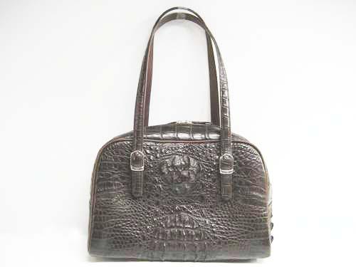 Genuine Crocodile Shoulder Bag in Dark Brown Crocodile Leather #CRW241S