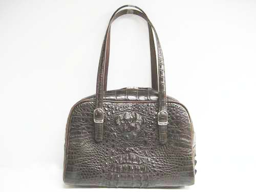 Genuine Crocodile Shoulder Bag in Dark Brown Crocodile Leather #CRW241S