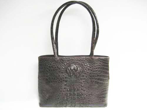 Genuine Crocodile Handbag in Dark Brown Crocodile Leather #CRW243S