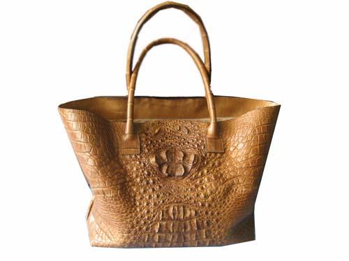 Genuine Crocodile Handbag in Light Brown Crocodile Leather #CRW244H-03
