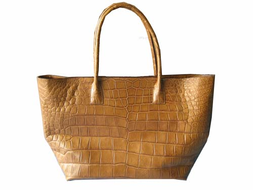 Genuine Belly Crocodile Handbag in Light Brown Crocodile Leather #CRW244H-04