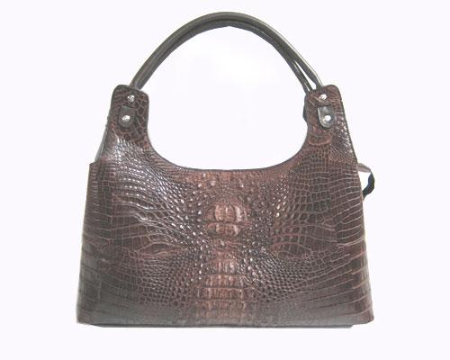 Genuine Crocodile Shoulder Bag in Dark Brown Crocodile Leather #CRW250H-01