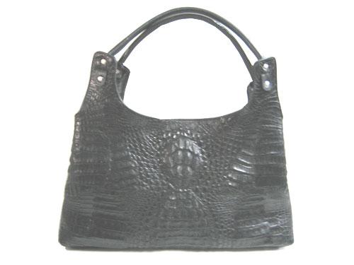 Genuine Crocodile Shoulder Bag in BlackCrocodile Leather #CRW250H-02