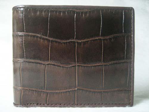 Genuine Belly Crocodile Leather Wallet in Dark Brown Crocodile Leather #CRM444W-03